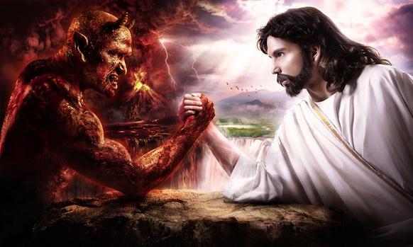 Devil armwrestling Jesus