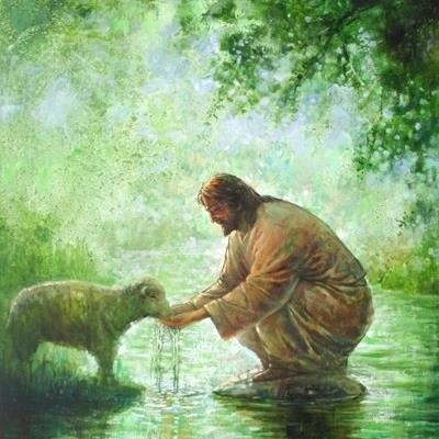 Jesus feeds lamb